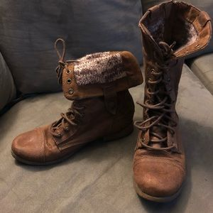 Brown Combat Boots Fold-Over Size 8